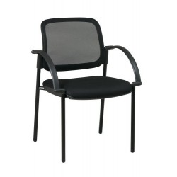 Work Smart Screen Back and Mesh Seat Visitors Chair with Arms (183305)