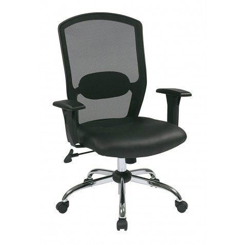 Work Smart Screen Back Chair with Leather Seat - Black (583814)