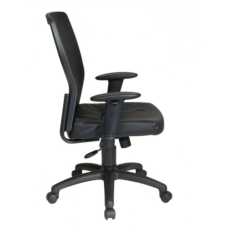 Work Smart Woven Mesh Back and Leather Seat (599402)