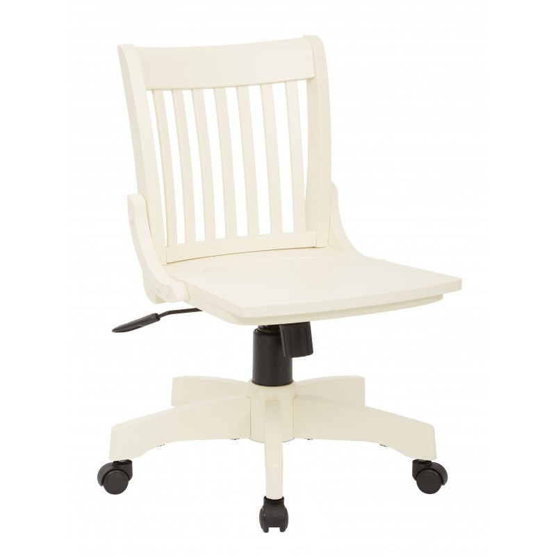 OSP Designs Deluxe Armless Wood Bankers Chair with Wood Seat - Antique White Finish (101ANW)