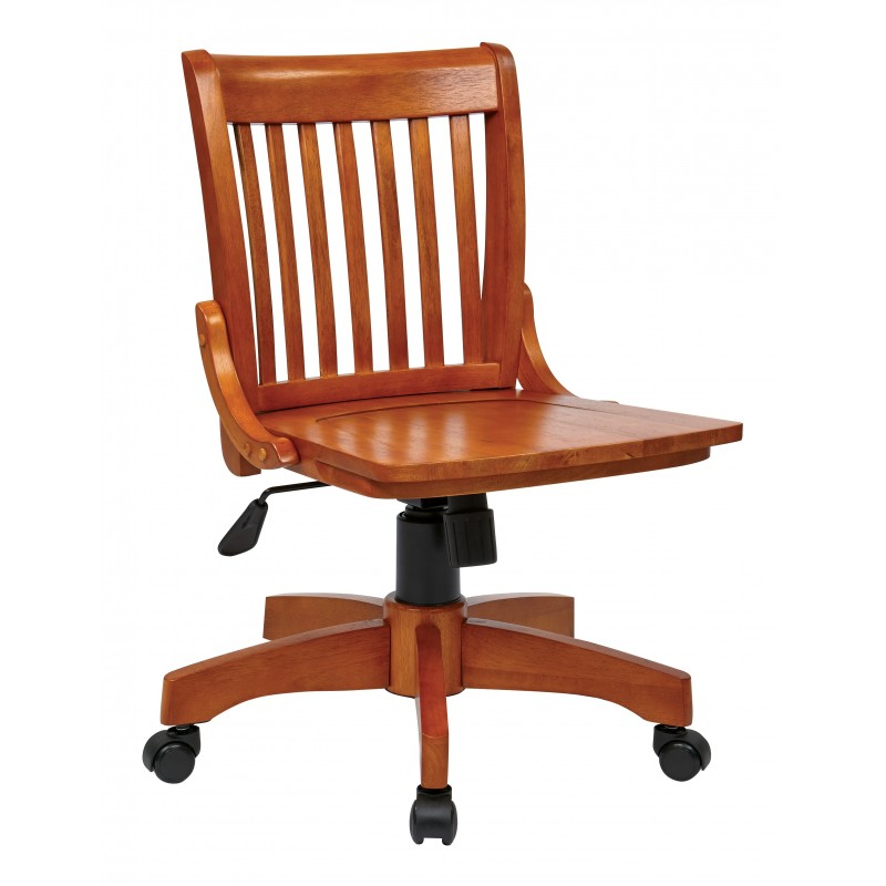 OSP Designs Deluxe Armless Wood Bankers Chair with Wood Seat-Fruit Wood Finish (101FW)