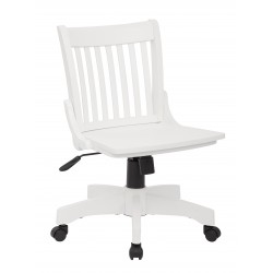 OSP Designs Deluxe Armless Wood Bankers Chair with Wood Seat-White Finish (101WHT)