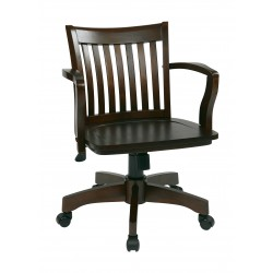 OSP Designs Deluxe Wood Banker's Chair with Wood Seat in Espresso Wood Finish (105ES)
