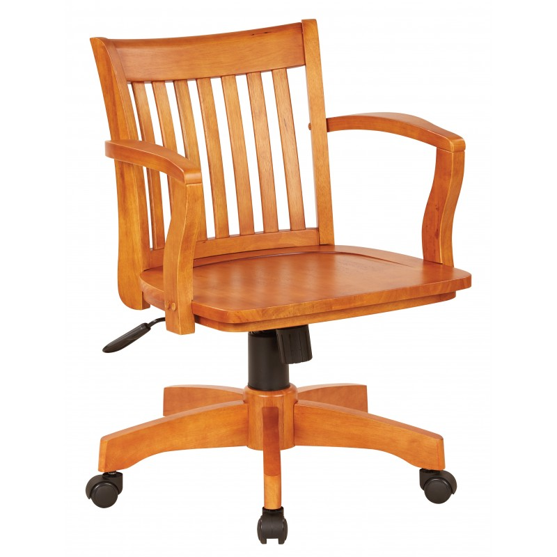 OSP Designs Deluxe Wood Banker's Chair with Wood Seat in Fruit Wood Finish (105FW)