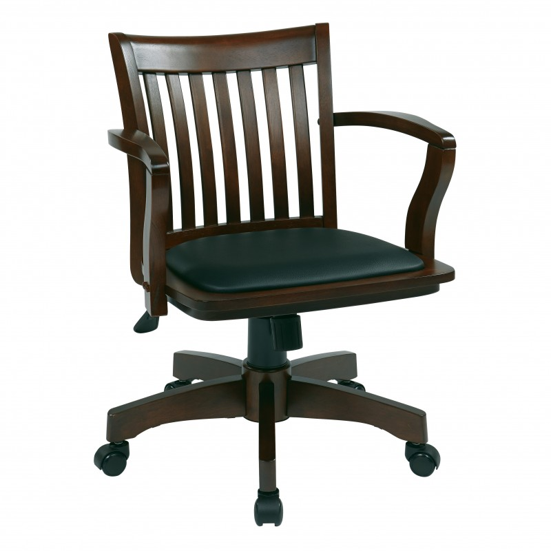 OSP Designs Deluxe Wood Banker's Chair with Vinyl Padded Seat in Espresso Finish (108ES-3)