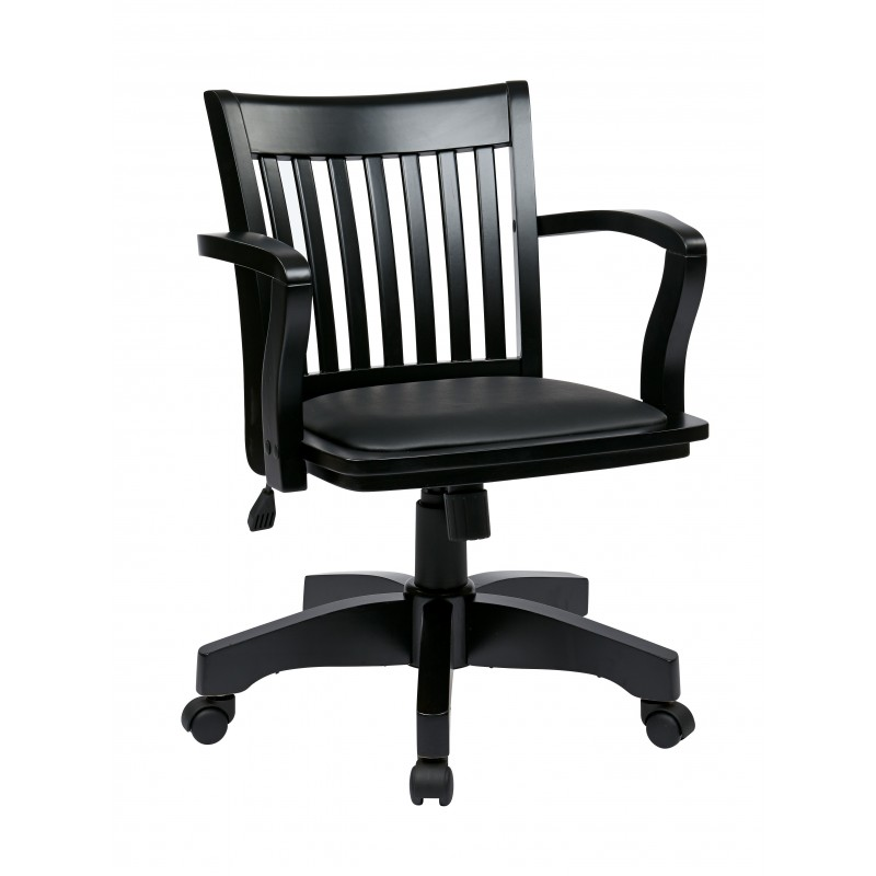 OSP Deluxe Wood Banker's Chair with Vinyl Padded Seat in Black Finish with Black Vinyl (108BLK-3)