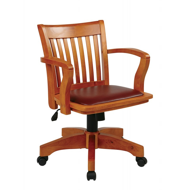 OSP Designs Deluxe Wood Banker's Chair with Vinyl Padded Seat in Espresso Finish (108FW-1)