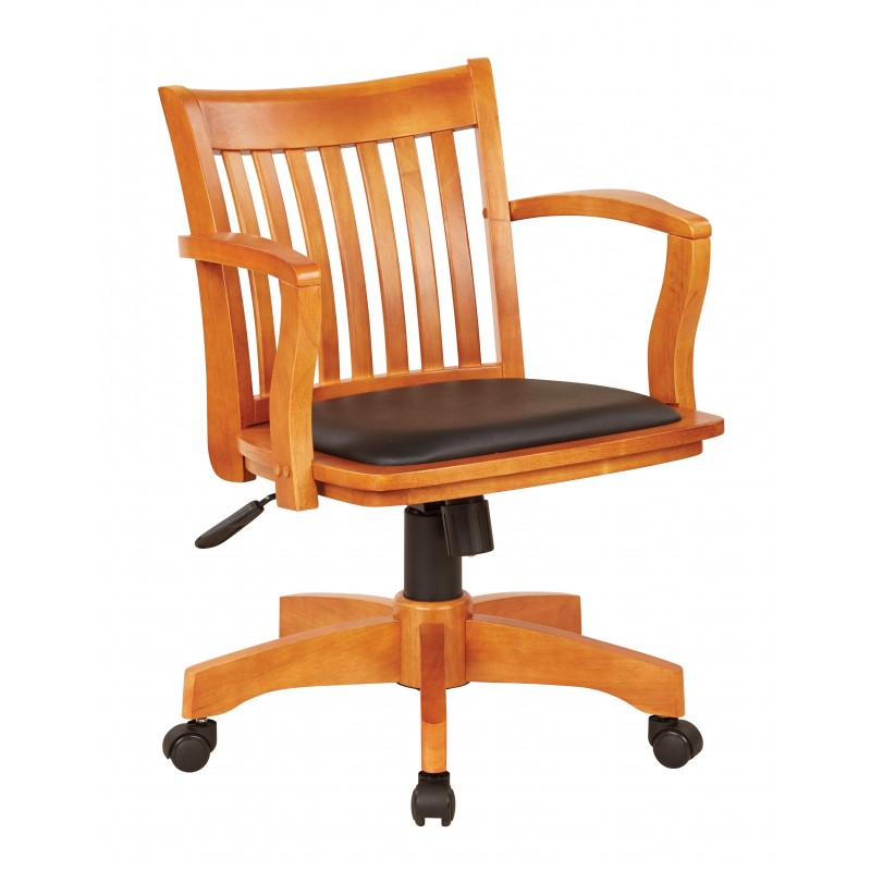 OSP Designs Deluxe Wood Banker's Chair with Vinyl Padded Seat in Fruit Wood Finish with Black Vinyl (108FW-3)