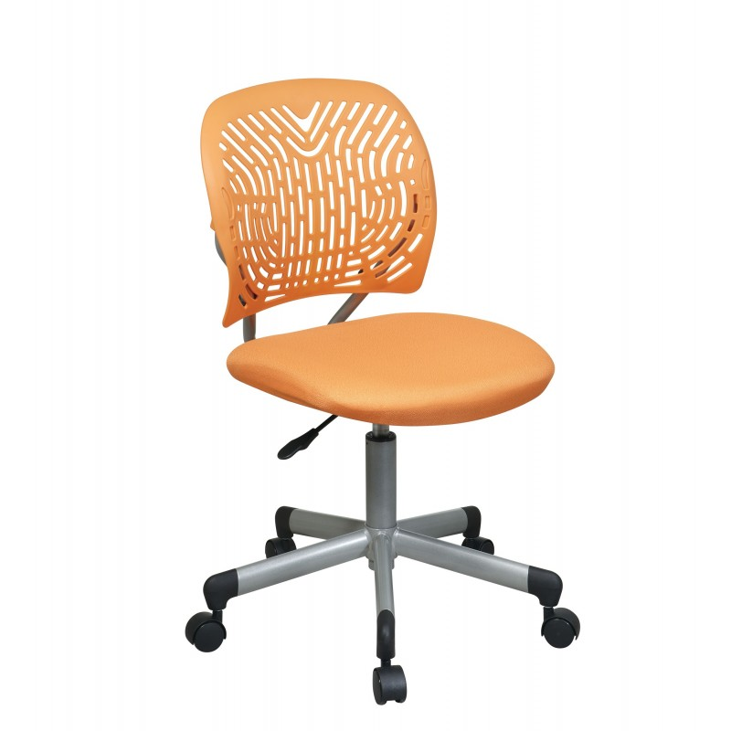 OSP Designs Designer Task Chair in Orange Fabric and Plastic Back (166006-18)