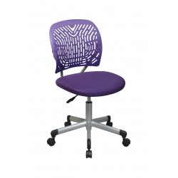 OSP Designs Designer Task Chair in Purple Fabric and Plastic Back (166006-512)