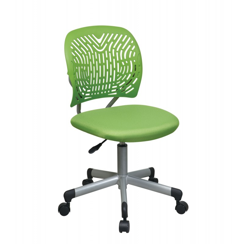OSP Designs Designer Task Chair in Green Fabric and Plastic Back (166006-6)