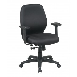 Work Smart Mid Back 2-to-1 Synchro Tilt Chair with 2 -Way Adjustable Soft Padded Arms (3121-231)