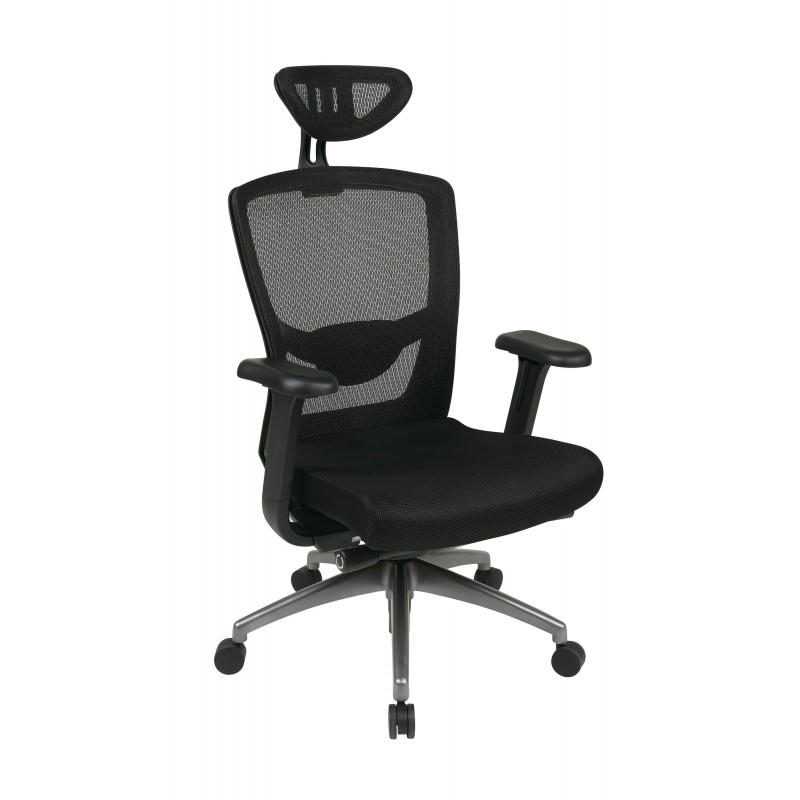 Pro-Line II Executive Black ProGrid Back Chair with Headrest (511343ATHRX53)