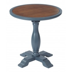 INSPIRED By Bassett Aveline accent Table Antique Brown Top - French Blue Finish (BP-AVEAC-YCM61)