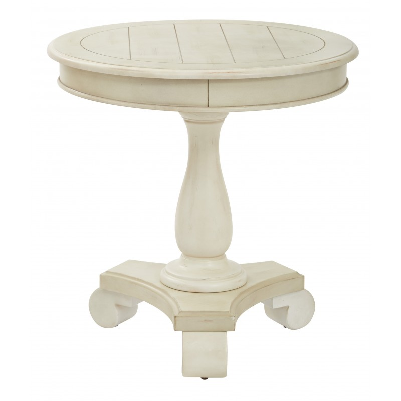 INSPIRED By Bassett Avalon Round Accent Table - White (BP-AVLAT-YCM2)