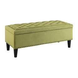 Ave Six Aster Storage Ottoman With Dark Espresso Legs - Basil Velvet Fabric (AST-B39)