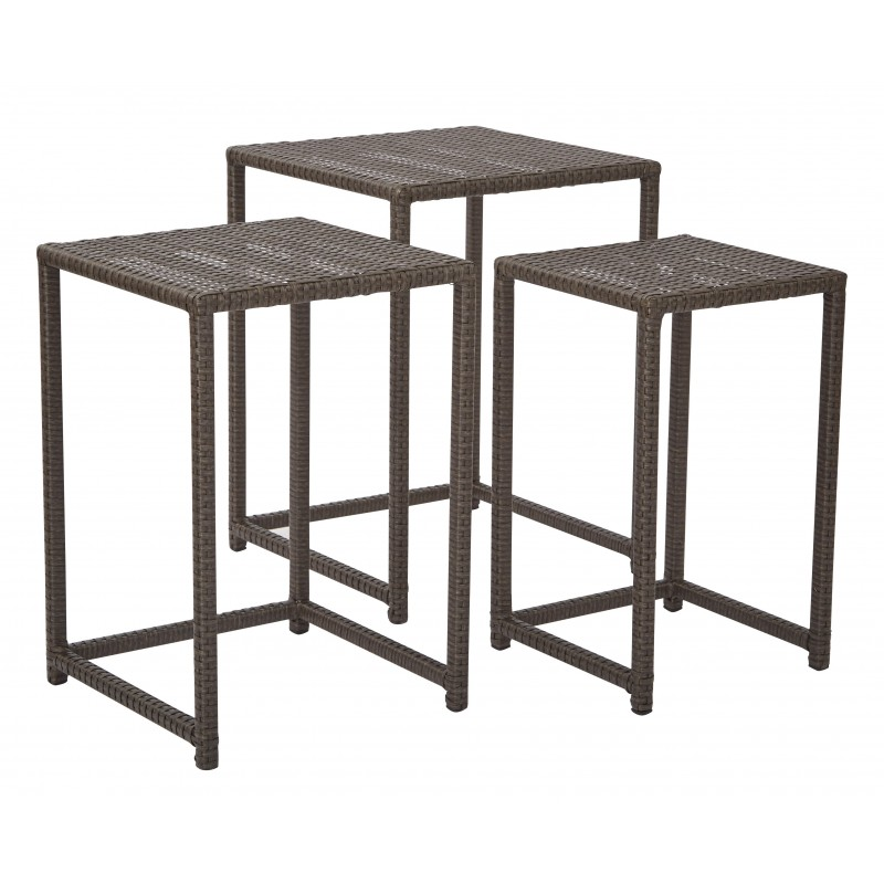 OSP Furnitures Outdoor 3pc Steel and Rattan Nesting Table Set in Espresso (BF1778SAS3-ES)