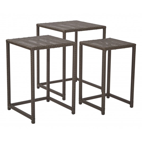 Outdoor Nesting Tables ~ Osp furnitures outdoor pc steel and rattan nesting table