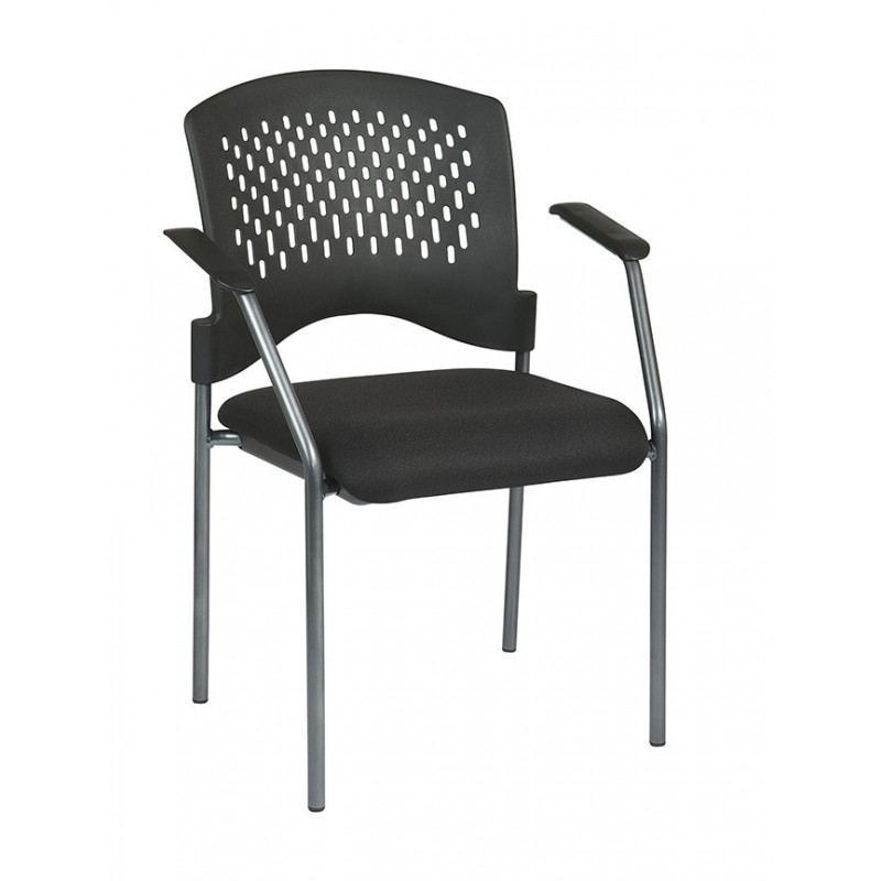 Pro-Line Titanium Finish Visitors Chair with Arms and Ventilated Plastic Wrap Around Back (8610-30)