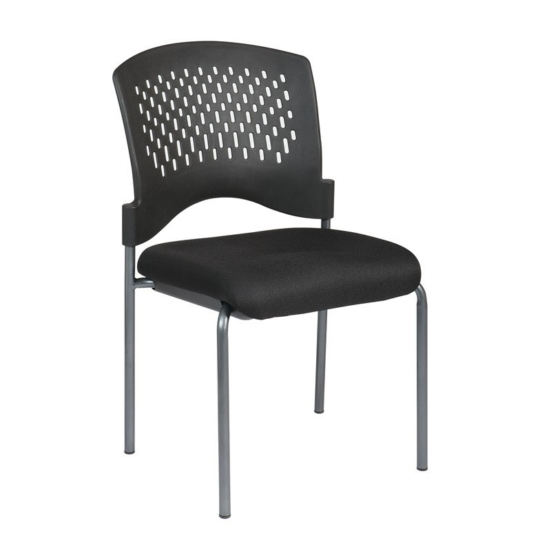 Pro-Line Titanium Finish Armless Visitors Chair with Ventilated Plastic Wrap Around Back (8620-30)