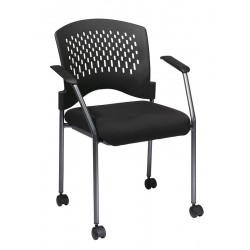 Pro-Line Titanium Finish Rolling Black Visitors Chair (8640-30)