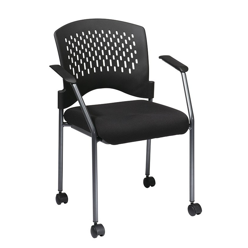 Pro-Line Titanium Finish Rolling Black Visitors Chair (8640-30)