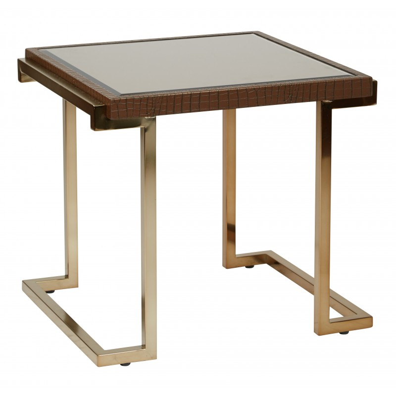 OSP Designs Isabella End Table with Bronze Glass Top and Champagne Metal Frame - Brown (BEL09-CHG)