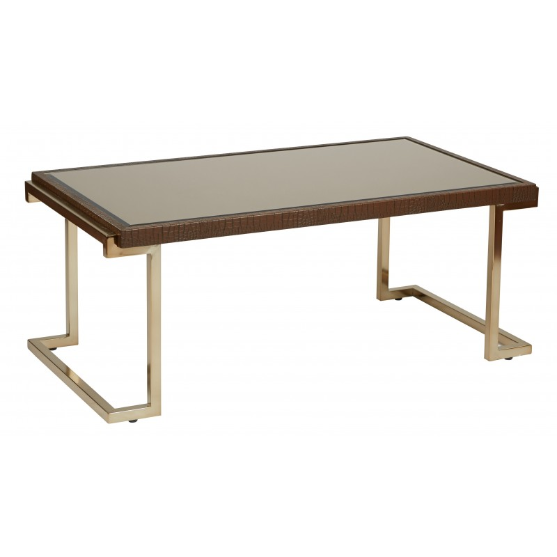 OSP Designs Isabella Coffee Table with Bronze Glass Top and Champagne Metal Frame - Brown (BEL12-CHG)
