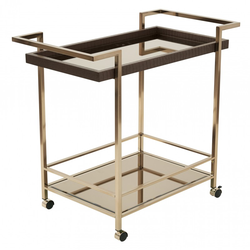 OSP Designs Isabella Wine Cart with Bronze Glass top in Champagne Metal Frame - Brown (BEL37-CHG)