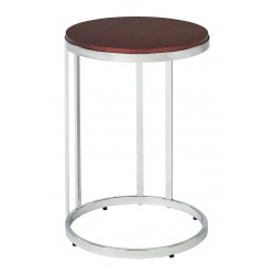 OSP Designs Alexandria Round Side Table In Cherry Finish Top, Chrome Metal Plating Legs - Red (ALX08-CHY)