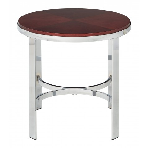 OSP Designs Alexandria Round Side Table In Cherry Finish Top, Chrome Metal Plating Legs - Red (ALX09-CHY)