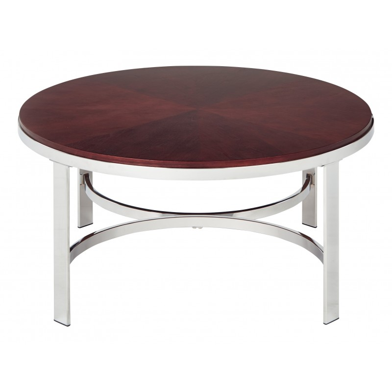 OSP Designs Alexandria Coffee Table In Cherry Finish Top, Chrome Metal Plating Legs - Red (ALX12-CHY)