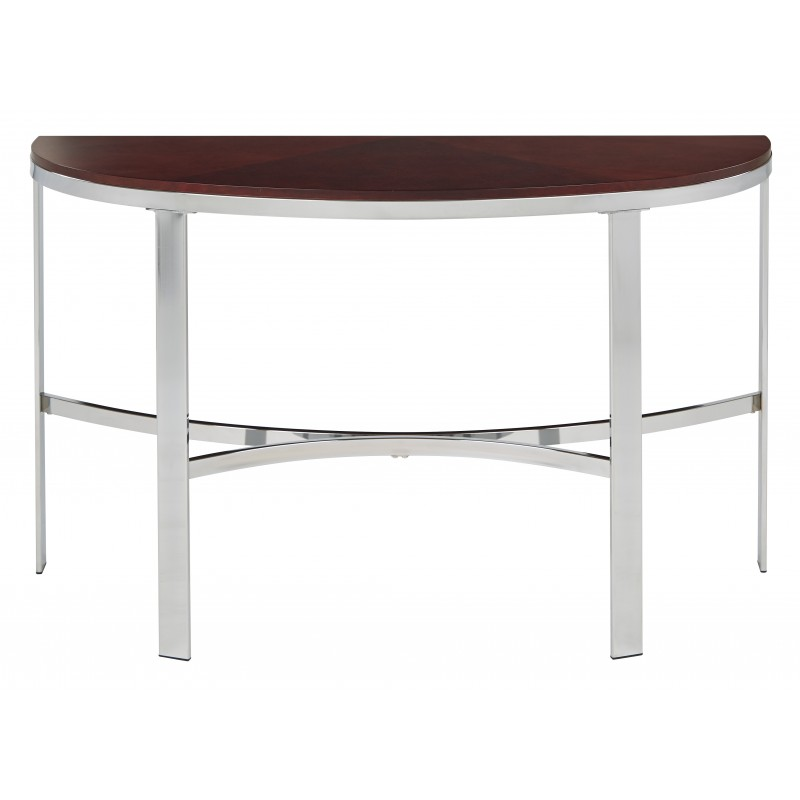 OSP Designs Alexandria Foyer Table In Cherry Finish Top, Crome Metal Plating Legs - Red (ALX07-CHY)