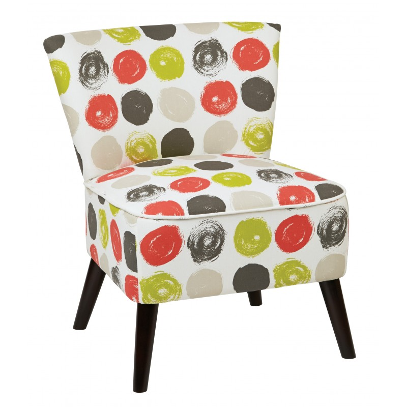 Ave Six Apollo Chair with Dark Espresso Finished - Legs and Dot Poppy Fabric (APL-R8)