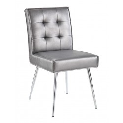 Ave Six Amity Tuffed Dining Chair in Sizzle Pewter Fabric With Chrome Legs (AMTD-S52)