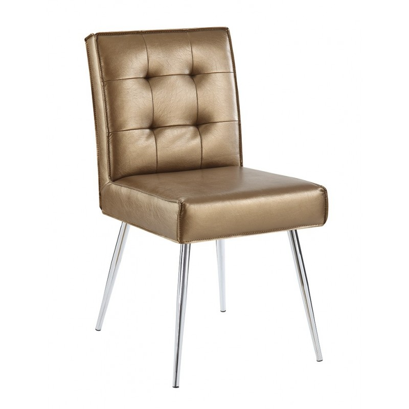 Ave Six Amity Tuffed Dining Chair in Sizzle Copper Fabric With Chrome Legs (AMTD-S53)