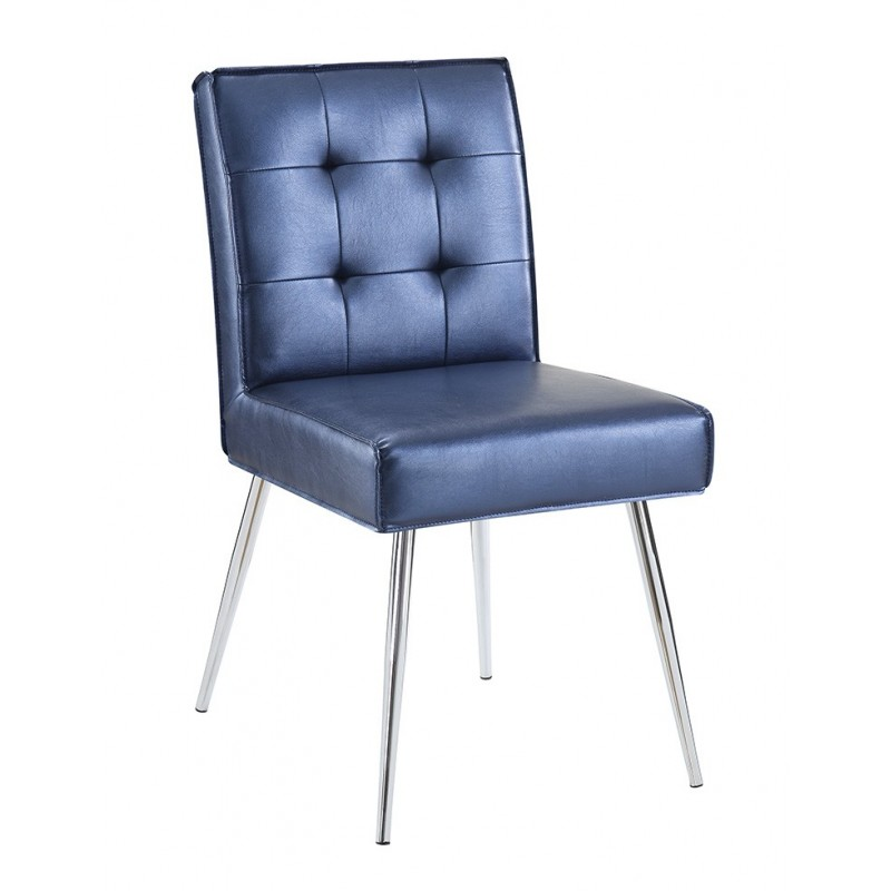 Ave Six Amity Tuffed Dining Chair in Sizzle Azure Fabric With Chrome Legs (AMTD-S54)