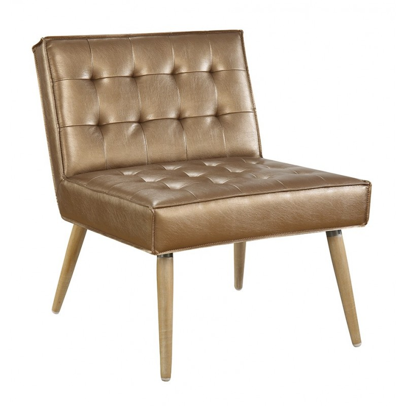 Ave Six Amity Tuffed Accent Chair in Sizzle Copper Fabric With Chrome Legs (AMT51T-S53)