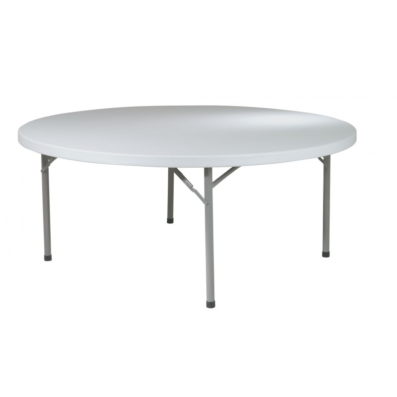"Work Smart 71"" Round Resin Multi Purpose Table - Light Grey (BT71Q)"