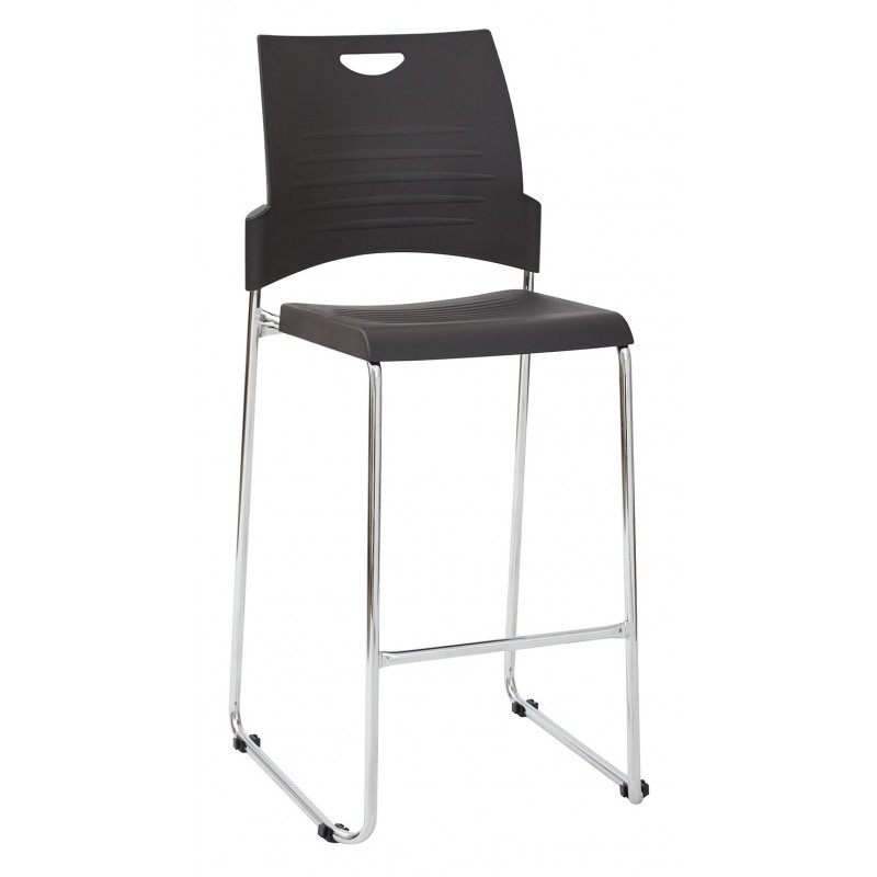 Work Smart 2-Pack Tall Black Stacking and Ganging Chair with Plastic Seat and Back with Chrome Frame - Black (DC8309C2-3)