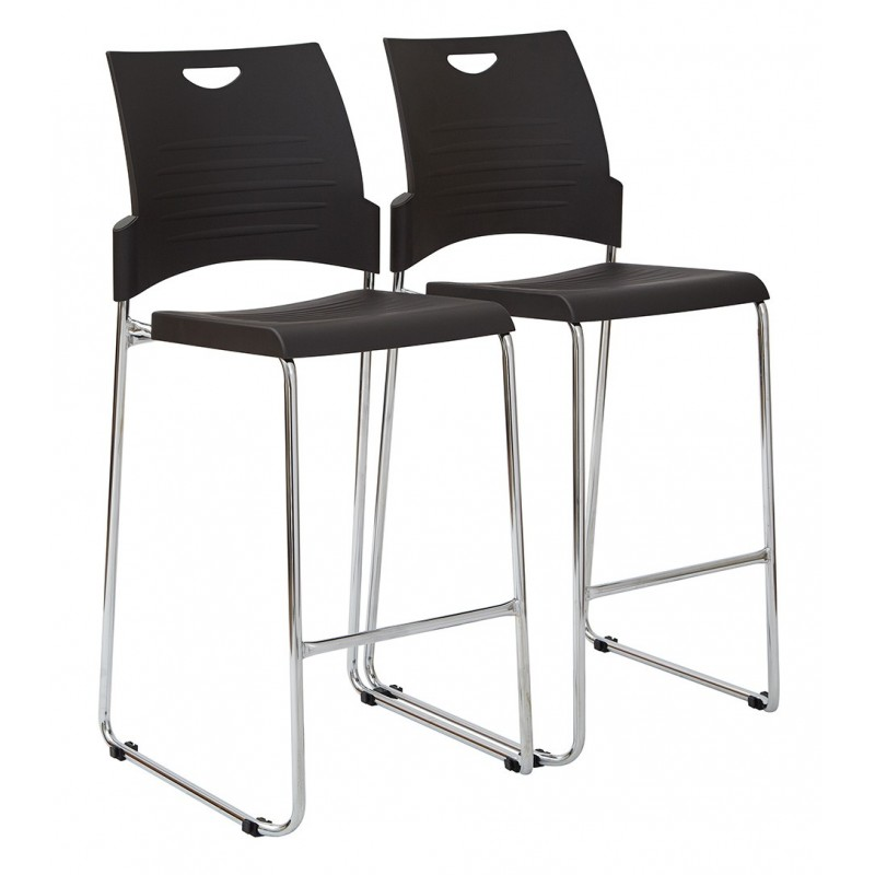Work Smart 4-Pack Tall Black Stacking and Ganging Chair with Plastic Seat and Back with Chrome Frame (DC8309C4-3)