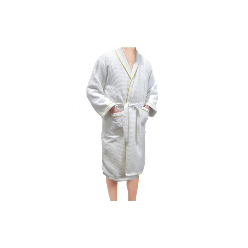 White Spa/Sauna Robe with Gold Trim
