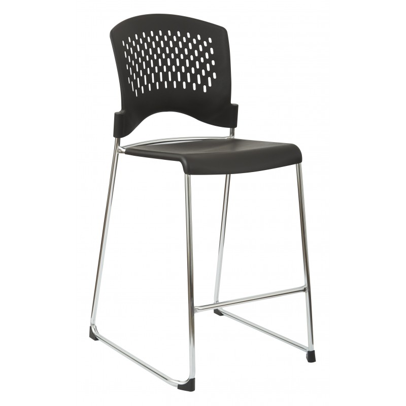 Work Smart 2-Pack Tall Stacking Chair With Plastic Seat And Chrome Frame (DC8658C2-3)