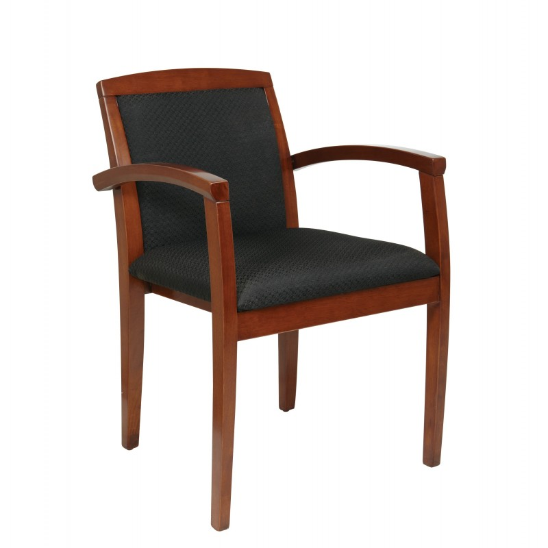 OSP Furnitures Light Cherry Leg Chair With Upholstered Seat And Wood Slat Back (KEN-1292-LCH)