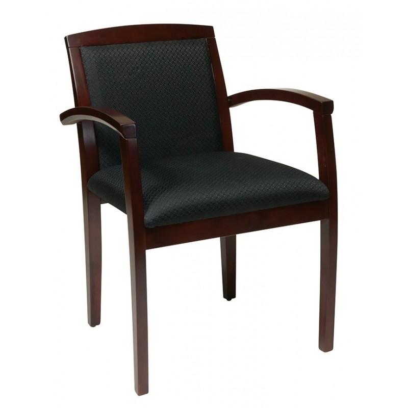 OSP Furnitures Mahogany Leg Chair With Upholstered Seat And Wood Slat Back (KEN-1292-MAH)