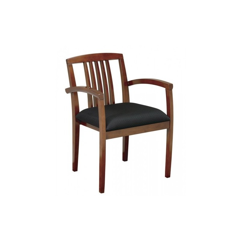 OSP Furnitures Leg Chair With Upholstered Seat And Wood Slat Back - Light Cherry Finish  (KEN-992-LCH)