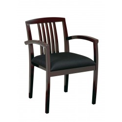 OSP Furnitures Leg Chair With Upholstered Seat And Wood Slat Back -Mahogany Finish  (KEN-992-MAH)