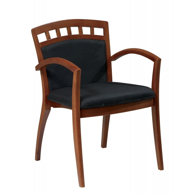 OSP Furnitures Leg Chair With Upholstered Back - Satin Cherry Finish (MEN-942-CHY)