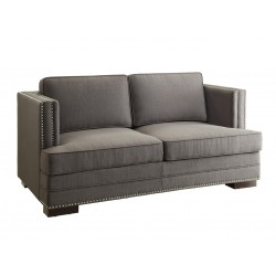 Ave Six Seaview Loveseat in Klein Charcoal Fabril, Silver Nailhead Trim and Dark Espresso KD Legs (SEV52-K26)