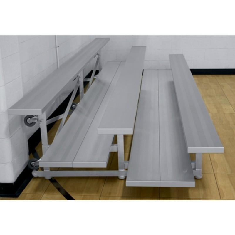 "Gared 3-Row Tip n' Roll Spectator Bleacher, 10"" Plank, 7 ft 6 in, Double Foot Planks (TRB0308DF)"